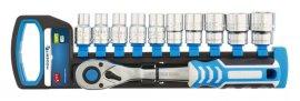 Набор торцевых головок  10 шт с удлинителем 125 мм и трещоткой 1-2-72 зубца HOEGERT