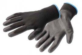HOEGERT Перчатки рабочие полиуретановые, черные, размер 10, 12 пар